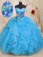 Sweetheart Sleeveless Lace Up Sweet 16 Quinceanera Dress Baby Blue Organza