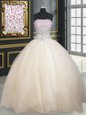 Flare Champagne Strapless Neckline Beading Quinceanera Dresses Sleeveless Lace Up
