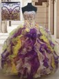 Strapless Sleeveless Lace Up Sweet 16 Dresses Purple Organza