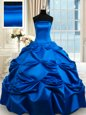 Sumptuous Blue Sweet 16 Dresses Military Ball and Sweet 16 and Quinceanera and For with Beading and Ruffles Strapless Sleeveless Lace Up