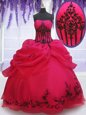 Coral Red Ball Gowns Strapless Sleeveless Organza Floor Length Lace Up Embroidery and Pick Ups Vestidos de Quinceanera