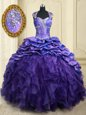 Pick Ups Brush Train Ball Gowns Quince Ball Gowns Purple Straps Organza and Taffeta Cap Sleeves Lace Up