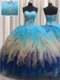 Superior Sleeveless Floor Length Beading and Ruffles Lace Up Ball Gown Prom Dress with Multi-color