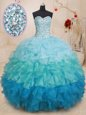 Traditional Ruffled Blue Sleeveless Taffeta Lace Up Quinceanera Gown for Military Ball and Sweet 16 and Quinceanera