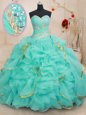 Sweetheart Sleeveless Lace Up Quinceanera Dresses Royal Blue Organza