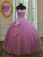 Sleeveless Floor Length Beading and Sequins Lace Up 15 Quinceanera Dress with Blue