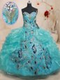Dramatic Teal Ball Gowns Beading and Embroidery and Ruffles Quinceanera Gowns Zipper Organza Sleeveless Floor Length