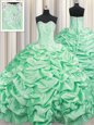 Pick Ups Brush Train Ball Gowns Quinceanera Dress Apple Green Sweetheart Taffeta Sleeveless With Train Lace Up