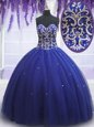 Top Selling Royal Blue Sleeveless Beading and Sequins Lace Up Vestidos de Quinceanera