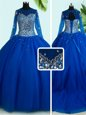Royal Blue Tulle Lace Up Scoop Long Sleeves With Train Ball Gown Prom Dress Brush Train Beading