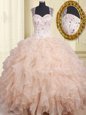 Straps Pink Organza Zipper Quinceanera Dress Cap Sleeves Floor Length Beading and Ruffles