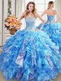 Sequins Sweetheart Sleeveless Lace Up Sweet 16 Dress Baby Blue Organza