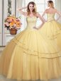Tulle Sleeveless Floor Length Quinceanera Gown and Beading and Sequins