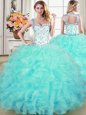 Excellent Four Piece Sweetheart Sleeveless Organza Vestidos de Quinceanera Beading and Ruffles Lace Up
