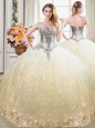 Tulle and Lace Sweetheart Sleeveless Lace Up Beading and Lace Quinceanera Gowns in Champagne