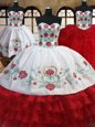 Admirable Three Piece Floor Length White and Red Sweet 16 Dress Organza Sleeveless Embroidery and Ruffled Layers