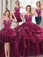 Four Piece Beading and Appliques and Pick Ups Quinceanera Dresses Burgundy Lace Up Sleeveless Floor Length