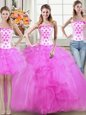 Dramatic Three Piece Mermaid Strapless Sleeveless Tulle Ball Gown Prom Dress Beading and Appliques and Ruffles Lace Up