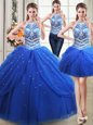 Custom Made Three Piece Halter Top Pick Ups Royal Blue Sleeveless Tulle Lace Up Quince Ball Gowns for Military Ball and Sweet 16 and Quinceanera