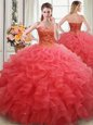 Discount Organza Sweetheart Sleeveless Lace Up Beading and Ruffles Sweet 16 Dresses in Coral Red