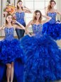 Artistic Four Piece Brush Train Ball Gowns Sweet 16 Dress Royal Blue Sweetheart Organza Sleeveless Lace Up