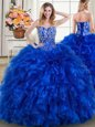 Royal Blue Ball Gowns Beading and Ruffles Quince Ball Gowns Lace Up Organza Sleeveless With Train