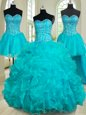 Four Piece Sweetheart Sleeveless Sweet 16 Quinceanera Dress Floor Length Beading and Ruffles Teal Organza