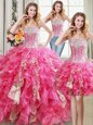Three Piece Floor Length Lace Up Sweet 16 Quinceanera Dress Hot Pink and In for Military Ball and Sweet 16 and Quinceanera with Beading and Ruffles and Sequins