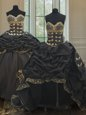 Three Piece Black Sleeveless With Train Beading and Embroidery and Pick Ups Lace Up Quinceanera Gown