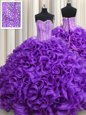 Eggplant Purple Sweetheart Neckline Beading Ball Gown Prom Dress Sleeveless Lace Up