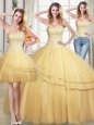 Three Piece Gold Sweet 16 Dresses Military Ball and Sweet 16 and Quinceanera and For with Beading and Sequins Sweetheart Sleeveless Lace Up