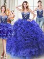 Flare Three Piece Sleeveless Floor Length Beading and Ruffles Lace Up Quince Ball Gowns with Royal Blue