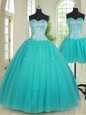 Customized Four Piece Pick Ups Ball Gowns Vestidos de Quinceanera Apple Green Sweetheart Organza Sleeveless Floor Length Lace Up