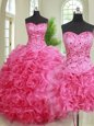 Three Piece Hot Pink Ball Gowns Organza Sweetheart Sleeveless Beading and Ruffles Floor Length Lace Up Ball Gown Prom Dress