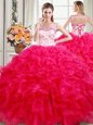 Four Piece Pick Ups Ball Gowns Sweet 16 Dress Wine Red Sweetheart Taffeta Sleeveless Floor Length Lace Up