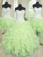 Four Piece Sweetheart Sleeveless Lace Up Quinceanera Dress Yellow Green Organza
