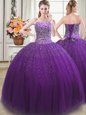 Dynamic Purple Lace Up 15 Quinceanera Dress Appliques and Pick Ups Sleeveless Floor Length