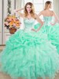 Captivating Organza Sweetheart Sleeveless Lace Up Beading and Ruffles and Pick Ups Quinceanera Gown in Apple Green