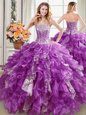 Three Piece Sleeveless Floor Length Beading Lace Up 15 Quinceanera Dress with Lavender