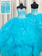 Four Piece Floor Length Red Quinceanera Gown Sweetheart Sleeveless Lace Up