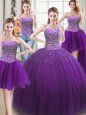 New Arrival Four Piece Teal Sweetheart Lace Up Beading 15th Birthday Dress Sleeveless