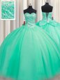 Turquoise Tulle Lace Up Sweetheart Sleeveless Floor Length Quinceanera Gowns Beading and Bowknot