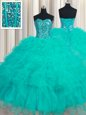Pretty Four Piece Organza Sweetheart Sleeveless Lace Up Ruffles and Sequins Quinceanera Gown in Multi-color