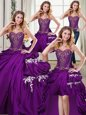 New Arrival Four Piece Pick Ups Floor Length Ball Gowns Sleeveless Purple Quinceanera Gown Lace Up