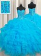 Modest Floor Length Baby Blue 15 Quinceanera Dress Organza Sleeveless Beading and Ruffles