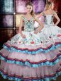 Decent Straps Multi-color Sleeveless Beading and Embroidery Floor Length Vestidos de Quinceanera