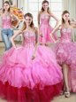 Four Piece Floor Length Lace Up Sweet 16 Dresses Multi-color and In for Military Ball and Sweet 16 and Quinceanera with Ruffles and Sequins