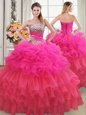 Wonderful Sequins Ruffled Floor Length Multi-color Quinceanera Gowns Strapless Sleeveless Lace Up