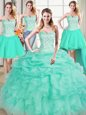 Custom Design Four Piece Pick Ups Ball Gowns Ball Gown Prom Dress Apple Green Sweetheart Organza Sleeveless Floor Length Lace Up