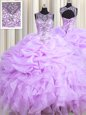 Customized Lavender Sweet 16 Quinceanera Dress Military Ball and Sweet 16 and Quinceanera and For with Beading and Ruffles and Pick Ups Scoop Sleeveless Lace Up